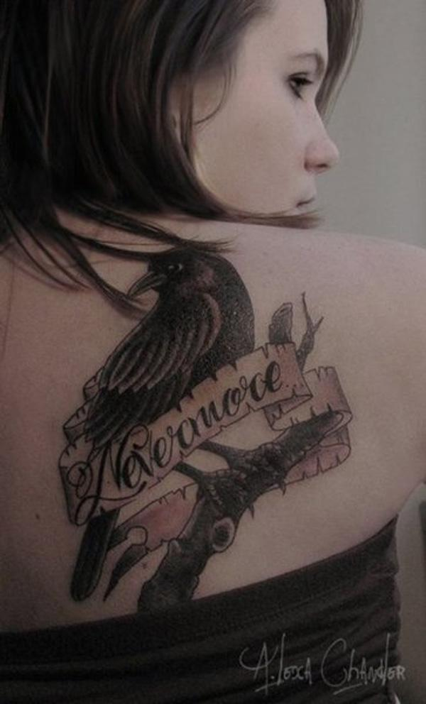 Raven Tattoo on Back for girl-57