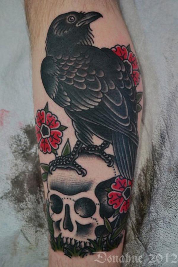 Raven Tattoo on Leg for Men-31