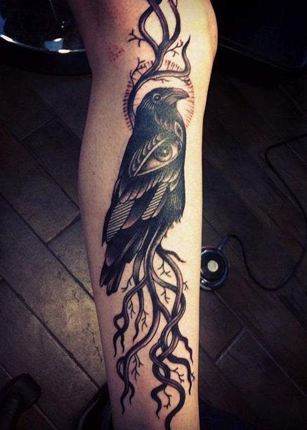 Raven Tattoo on leg-51