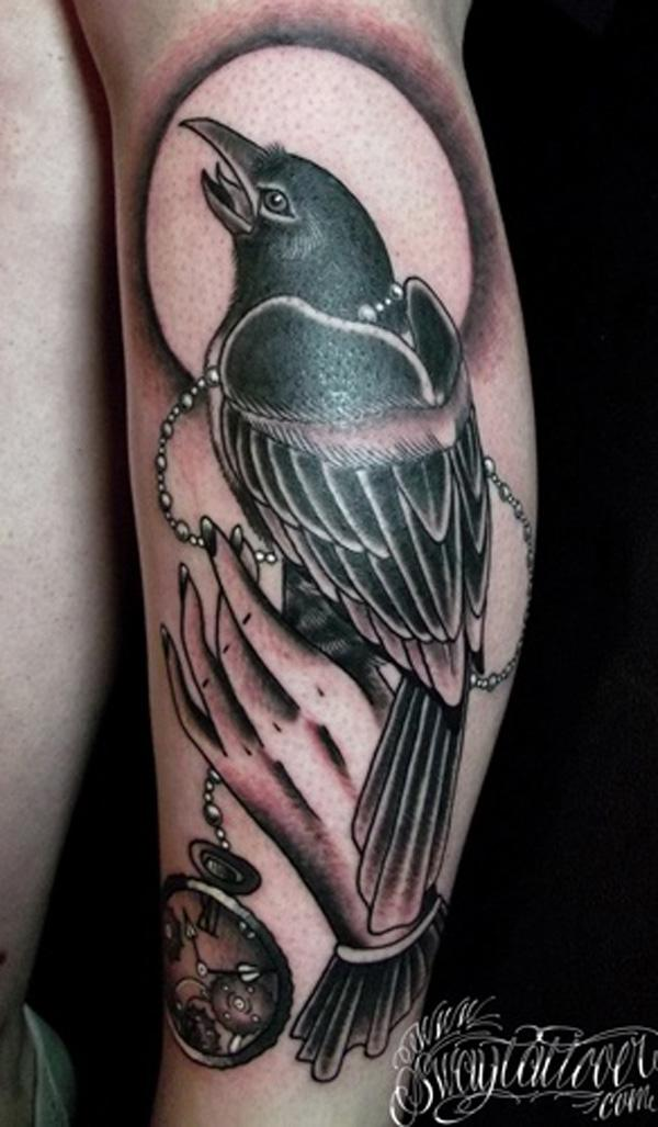 Raven With watch Tattoo-41