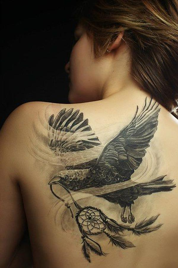 Raven and Dreamcatcher Tattoo on Back-23
