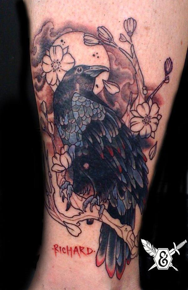 Raven and Flower Tattoo-30
