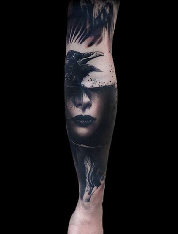 Raven and Girl Tattoo-27
