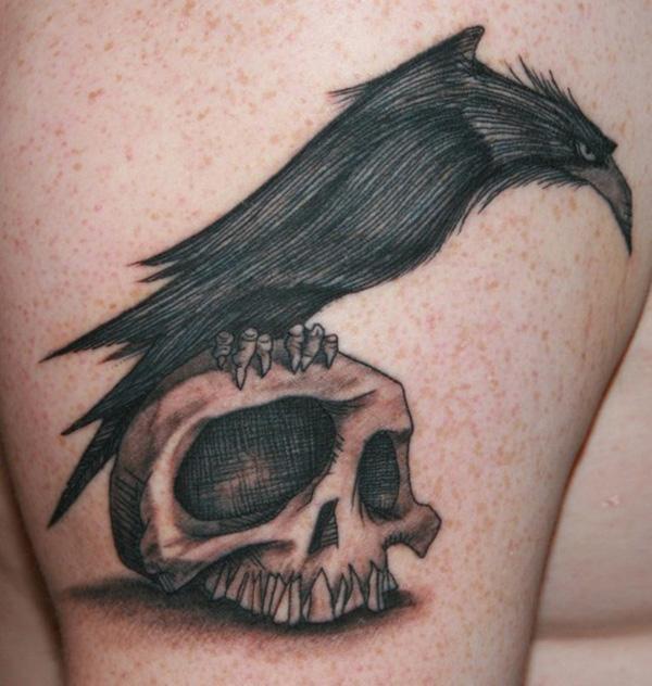 Raven and Skull Tattoo-19