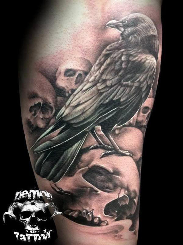Raven and Skull Tattoo for men-2