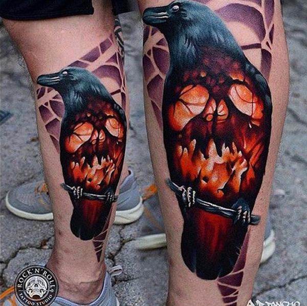 Raven and Skull Tattoo on Leg-17
