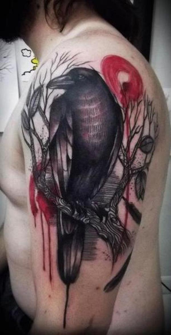 Raven and Tree Ink on Half Sleeve -32