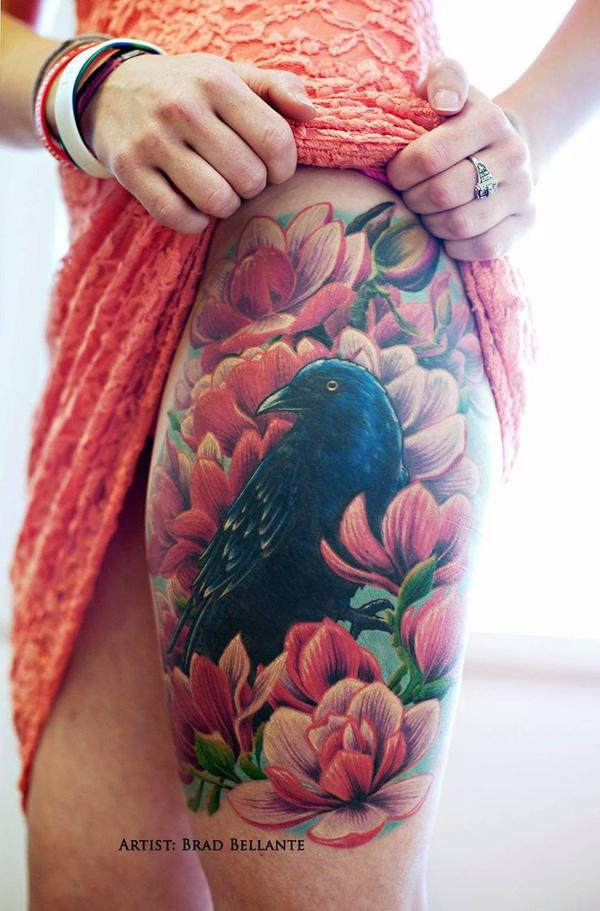 4569cf036 Raven and flowers thigh tattoo - 60+ Mysterious Raven Tattoos ...