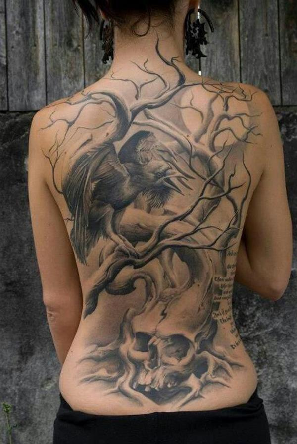 Raven tree tattoo meaning images for Full back tattoos women