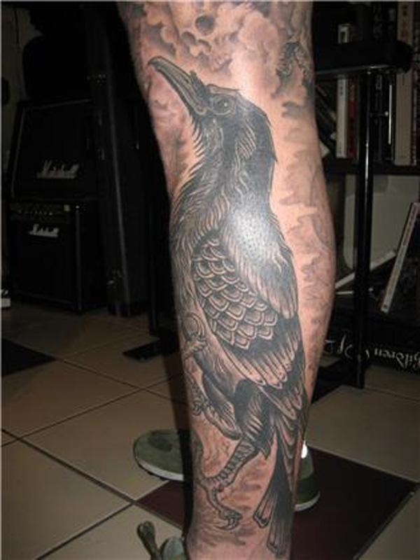Raven leg tattoo for men-38