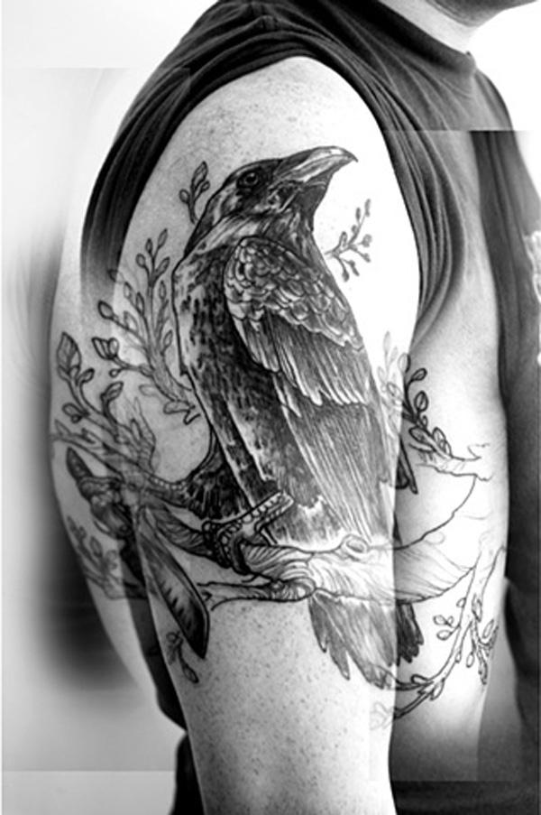 Raven on the Tree Tattoo-46