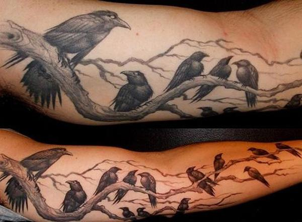 Ravens Tattoo on Sleeve-55