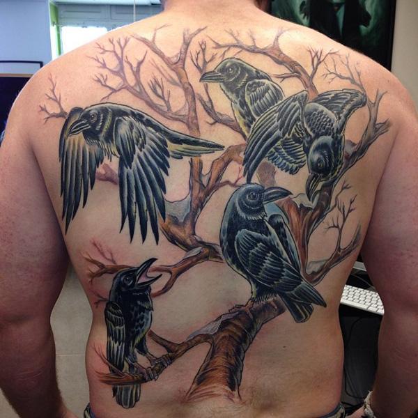 Ravens and Tree Tattoo on Back-14