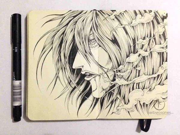 An artwork derived from the female titan character from the anime and manga, Shingeki No Kyojin / Attack On Titan. Not his usual style, more of a hair study but still using traditional art.