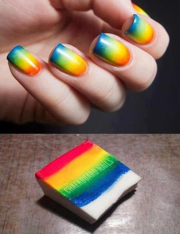 Sponge Rainbow Nail Art Design for Summer-2