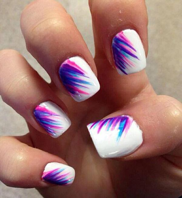 Cool looking feather nail art design that is perfect for your summer  escapades with friends. - 65 Lovely Summer Nail Art Ideas Art And Design