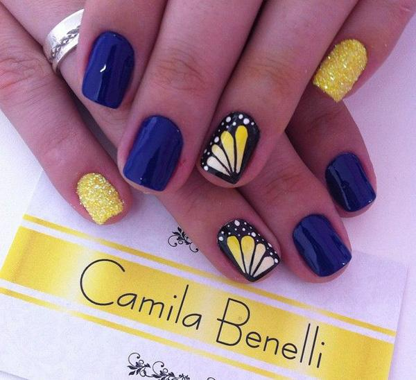 This totally cute and attractive nail art design plays around with yellow,  midnight blue and ... - 65 Lovely Summer Nail Art Ideas Art And Design