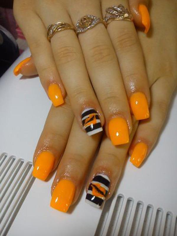 Look out for more orange inspired nails with this yellow orange and black  and white striped ... - 65 Lovely Summer Nail Art Ideas Art And Design