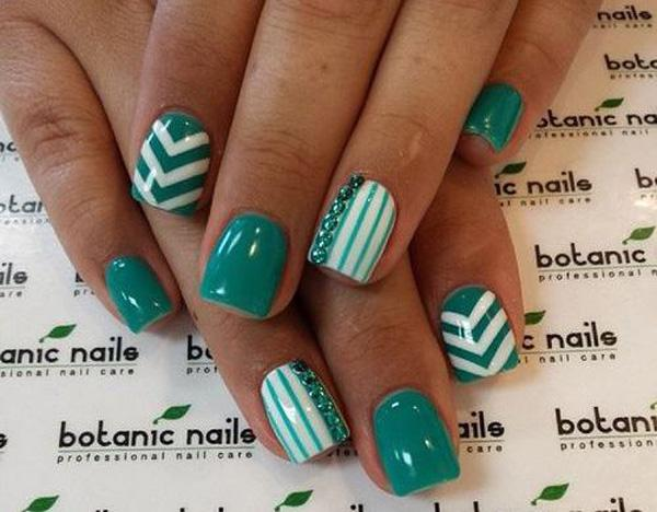 Dip your nails in teal with this fashionable looking nail art design. - 65 Lovely Summer Nail Art Ideas Art And Design