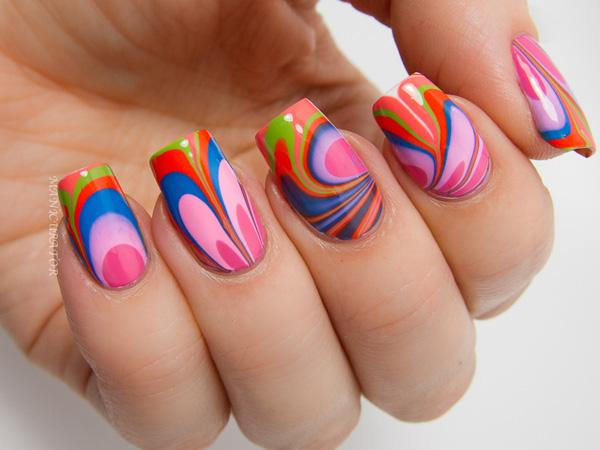 Summer water marble nail art-5