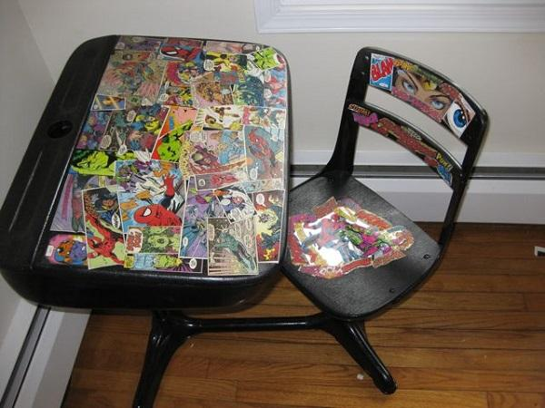 Superhero Comic Book Decorated Desk & Chair
