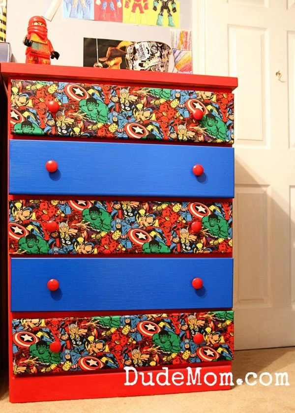diy comic book desk. Superhero Comic Decorated Drawers - Can Become More Fun And Super By Applying The Same Diy Book Desk