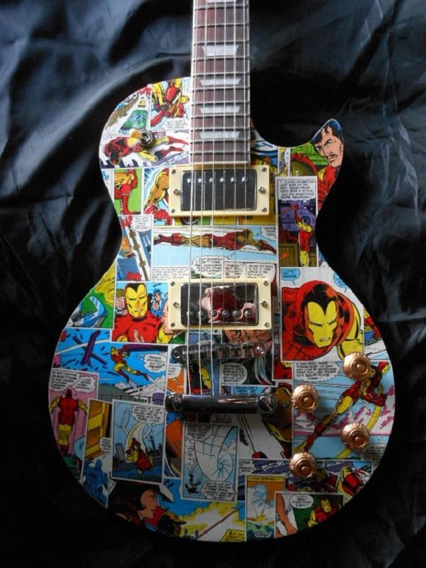 Superhero Comic Decorated Musical Instrument