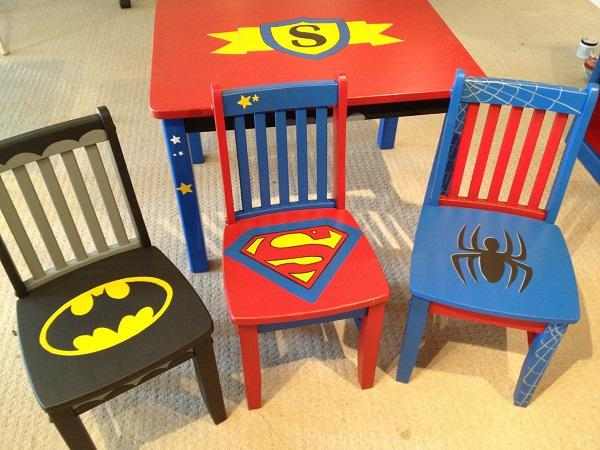 Superhero Logo Painted Table & Chairs