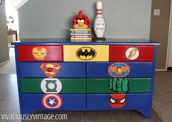 Superhero Logo Painted Drawers