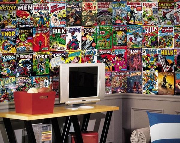 Superhero Comic Decorated Bedroom Wall