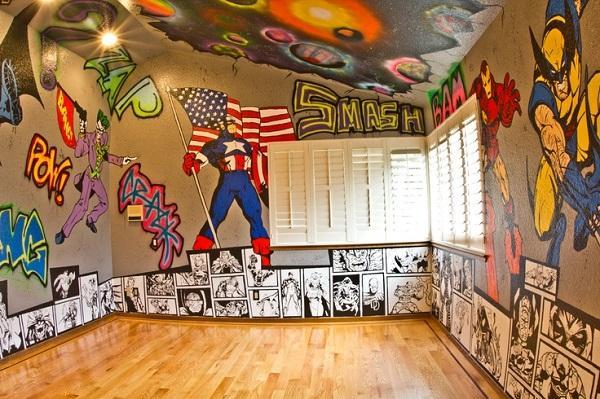 Superhero Painted Bedroom Wall