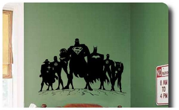 Superhero Silhouette Painting Bedroom Wall