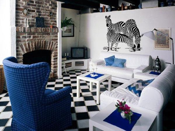 Great Vinyl Sticker Wall Decal The black and white print of zebras perfectly matches the checked