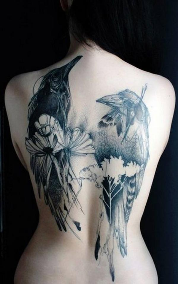Watercolor Raven Tattoo on Back for Women-16