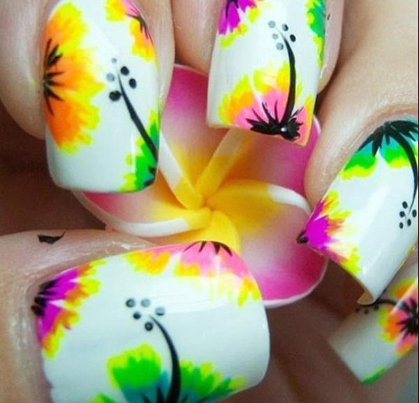Watercolor flower nail art for summer-47