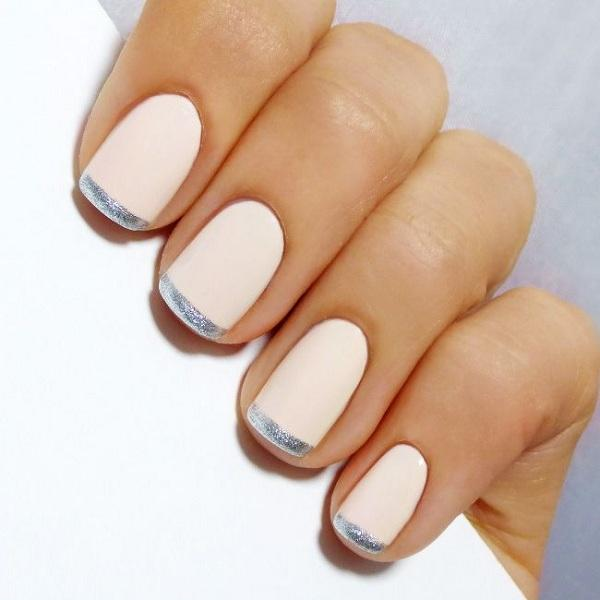 White French nails with silver stripes