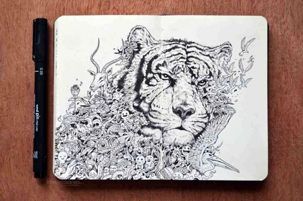 White Tiger (Made with Uni Pin Fineliners)