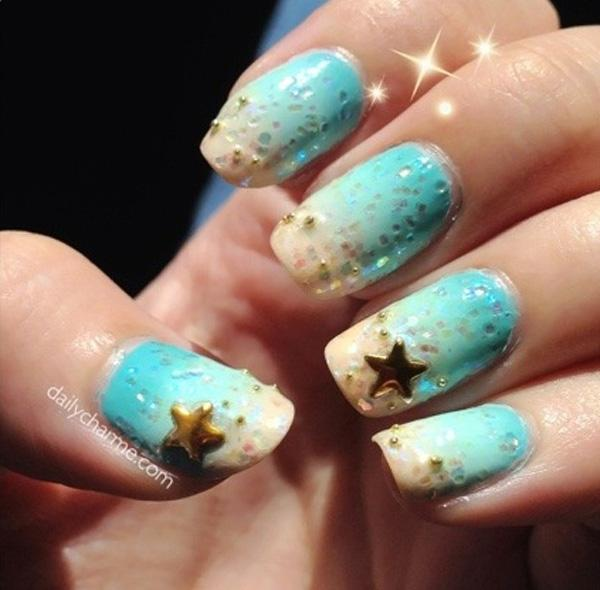 65 lovely summer nail art ideas art and design breezy beach inspired nail art design its like dipping your nails into the sea and prinsesfo Gallery