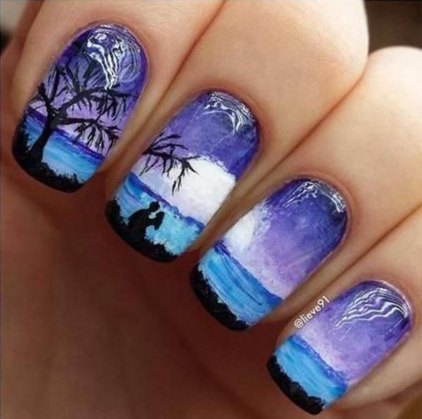It's like looking at a Van Gogh painting, but your nails. - 65 Lovely Summer Nail Art Ideas Art And Design