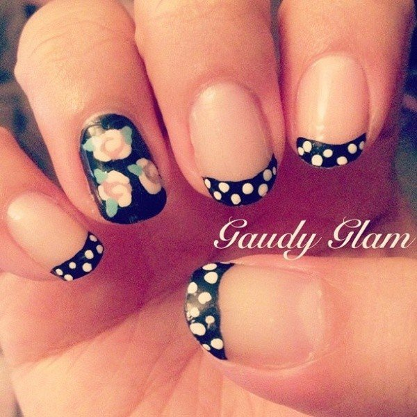 black and white polka dots nail tips