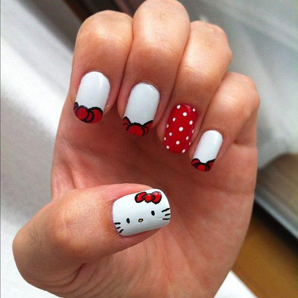 50 hello kitty nail designs art and design peek a boo i see a red ribbon who is it its hello pin it prinsesfo Images