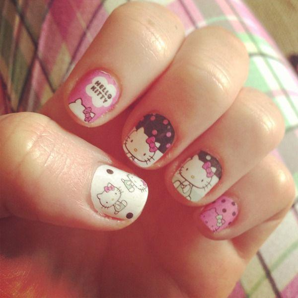 50 hello kitty nail designs art and design if you like authentic looking hello kitty prints on your nail then this one is just prinsesfo Images