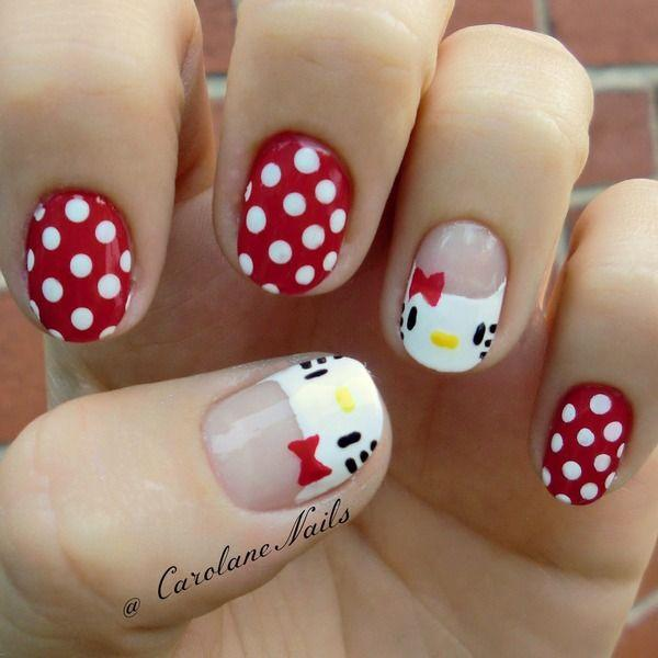 50 hello kitty nail designs art and design cute and simple the white and red shades topped with polka dots and hello kittys prinsesfo Image collections