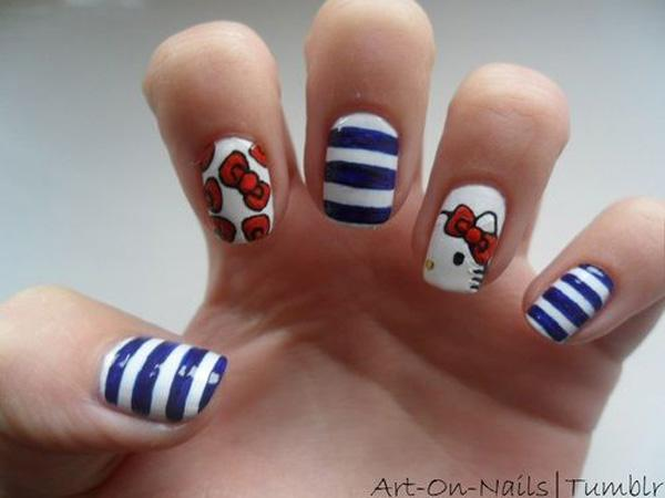 50 hello kitty nail designs art and design a classic white blue and red nail art using the original color combination of prinsesfo Images