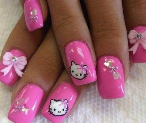 50 hello kitty nail designs art and design be blown away in pink with this overly cute and girly hello kitty nail art design prinsesfo Images
