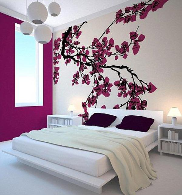 Cute modern Japanese bedroom with cherry blossom wall decor Beautiful Wall Decals Ideas
