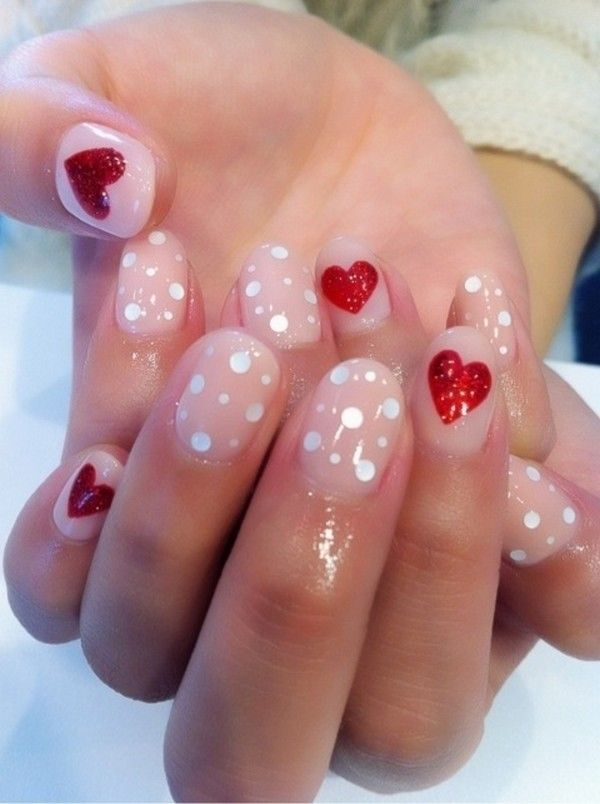 polka dots themed valentines nails