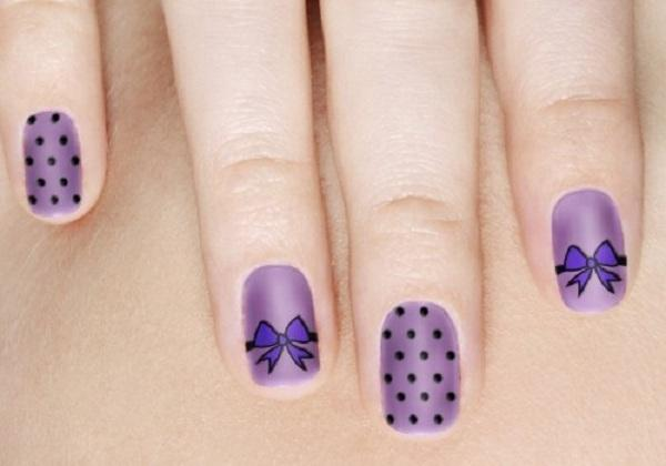 purple polka dots bows nail art design