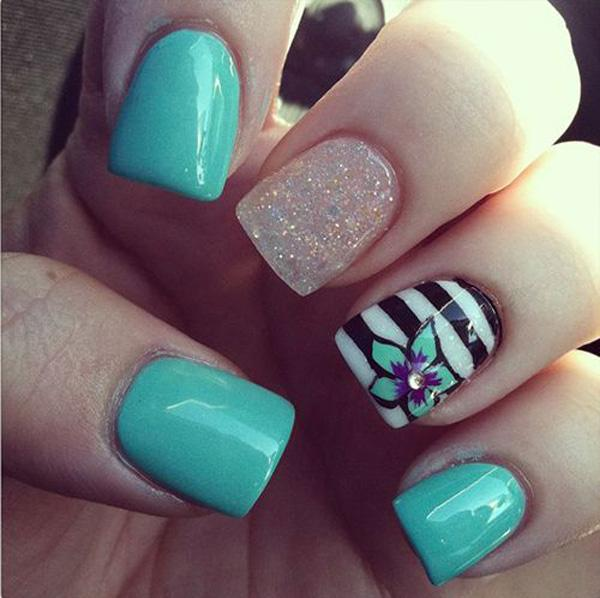 Add fun to your short square shaped nails with this cool looking nail art  ensemble. - 65 Lovely Summer Nail Art Ideas Art And Design