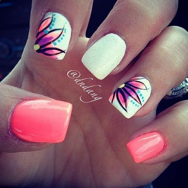 Give a fresh look on your nails with this amazing looking summer nail art  design. - 65 Lovely Summer Nail Art Ideas Art And Design